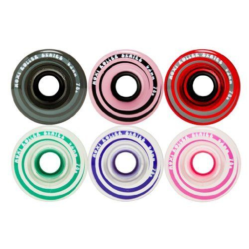 Moxi Gummy/Juicy 78A Indoor or Outdoor Quad Roller Skate Wheels by Riedell by Riedell. $24.99. Moxi Roller Skates sells two lines of roller skate wheels, the Moxi Gummy Wheels, and the Moxi Juicy Wheels. Both are 62mm high recound MDI processed urethane with a urethane core and 78a hardness. Wheels come in Gummy Teal, Gummy Pink, Gummy Lavender, Juicey Pink Frost, Juicy Red Cherry Stain, and Juicy Smoke. Mix and match em' for any combination you wish. Roll on ...