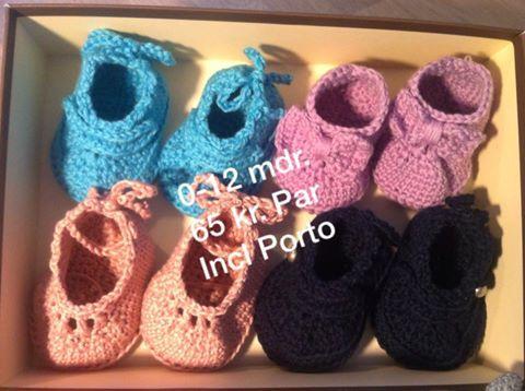Hæklede Baby / børne sko i Uld eller bamboo fra 0 til 12 mdr. I alle tilgængelige farver. 65 kr. incl porto