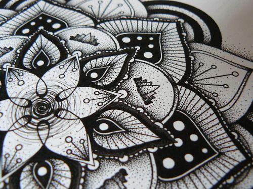 drawing stippling blackwork Hand drawn mandala pen and ink Dotwork pointilism