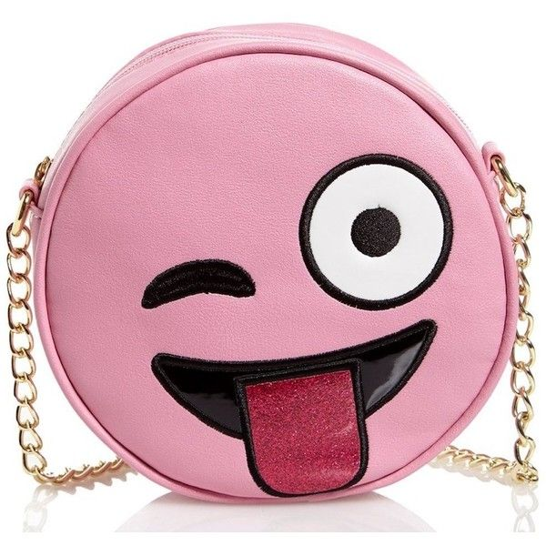 Olivia Miller Girl Tongue Out Emoji Crossbody Purse (935 THB) ❤ liked on Polyvore featuring bags, handbags, shoulder bags, emoji, man bag, pink cross body purse, crossbody purses, crossbody handbags and shoulder handbags