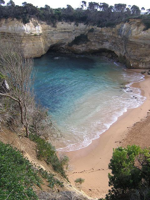 The calmer end of Loch Ard Gorge, Great Ocean Road, Australia (by lakhesis).