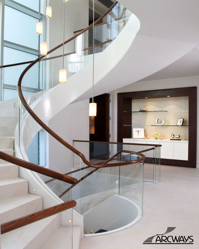Best 25 glass stair railing ideas on pinterest for Curved staircases