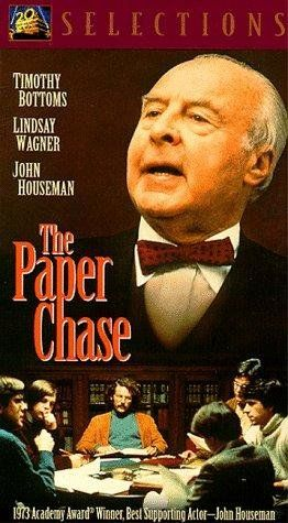 """The Paper Chase"" (1973).  A first-year law student struggles with balancing his coursework from a very strict professor and his relationship with the professor's daughter.  I hadn't seen this movie in many years.  It was great fun to watch again."