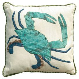 """Crab-print pillow with an envelope-style back panel and natural shell button. Made in the USA. Product: Pillow    Construction Material: Cotton and satin nylon cover and polyester fill    Color: White and turquoise    Features: Envelope-style back panel with natural shell button  Insert included  Beaded eyes and metallic embroidery detail  Designed and made in the USA      Dimensions: 20"""" x 20""""        Cleaning and Care: Spot clean or hand wash with cold water. Air dry."""