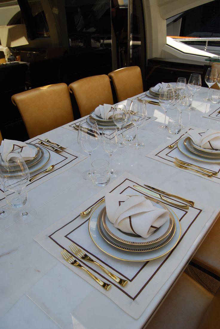 """Spartito"" Embroidery on Place Mat  #pratesi #pratesiluxurylinens #luxury #yacht #luxurylife #sea #tablelinens #placemat #elegance #embroidery  #table #madeinitaly #fashion #bedding"