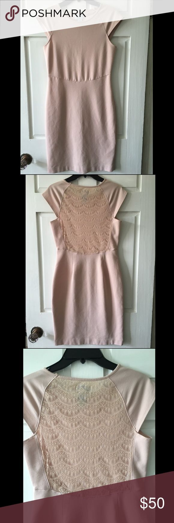 Blush Carmen Marc Valvo lace back dress Beautiful blush colored Carmen Marc Valvo dress with lace detailing in back. Super comfortable and very lightly worn! ✨ I am moving and would hate to throw out- offers accepted! Carmen Marc Valvo Dresses Midi