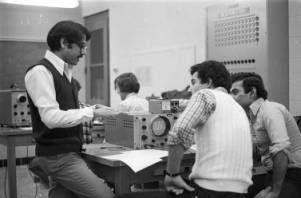 Ohio University Electrical Engineering classroom sine wave, 1980 :: Ohio University Archives
