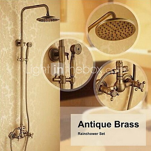 Antique Brass Wall Mounted Two Handle Rain Shower Faucet Set with 8 Inch Shower Head and Hand Shower - GBP £157.72
