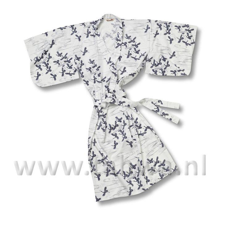 Japanse Yukata Kimono Lang Blue White Crane