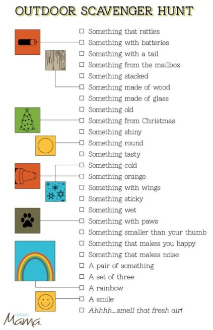 Free Printable Outdoor Scavenger Hunt Card from Today's Mama