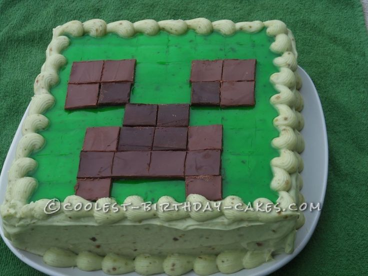 Cool Minecraft Creeper Cake Birthday Cakes Crafts And