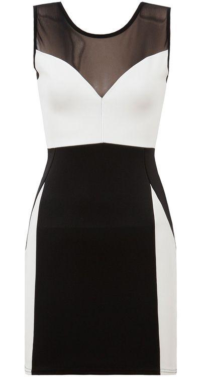 Biało-czarna sukienka z siateczką