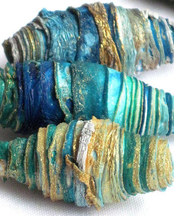 8 mixed media textile art fiber beads hand by CAROLYNSAXBYTEXTILES, £6.50