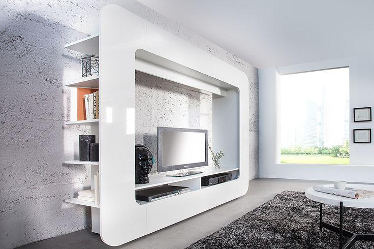 Wohnwand CUBUS weiß 185cm Hochglanzfront 3D Optik - Unsere stylische ...