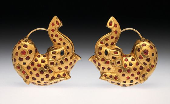 Unknown, Pair of Earrings in the Form of Dancing Elephants, 19th century, Gold inlaid with rubies and sapphires, each: 1 1/2 × 1 1/2 × 1/2 in. (3.81 × 3.81 × 1.27 cm), Los Angeles County Museum of Art, Purchased with funds provided by Christian Humann and Wallace Thompson (M.86.49a-b) #lacma