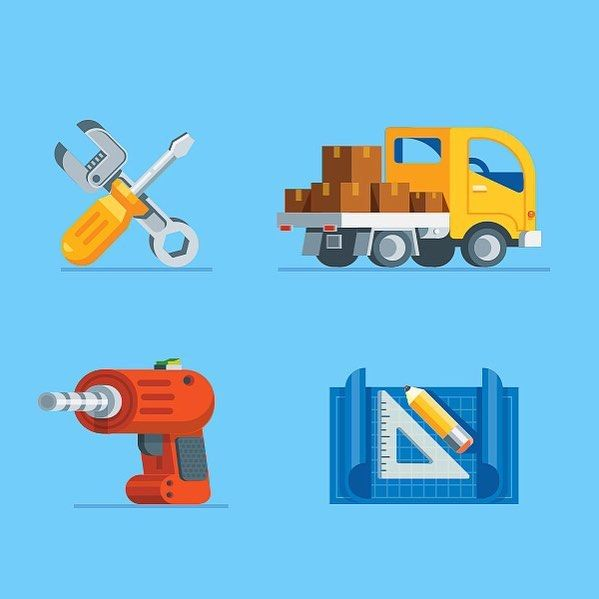 "nickkumbari: ""#icon #set #car #truck #drill #screwdriver #blueprint illustration #inspiration #illustrations #icons #graphic #design #designer"""