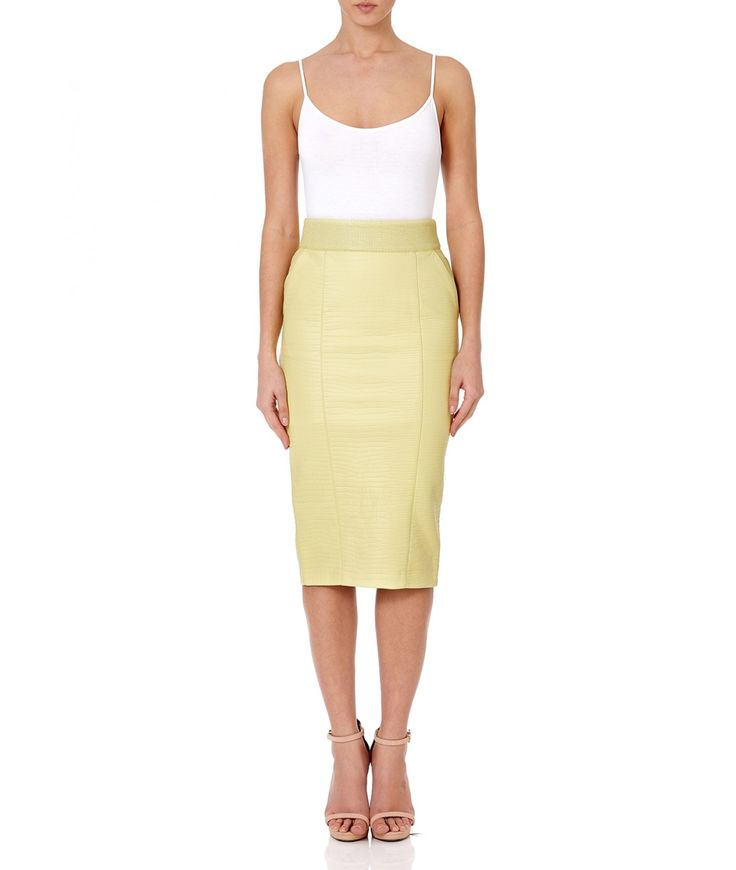 DELPHI - Lemon leatherette pencil skirt with seaming details - Main
