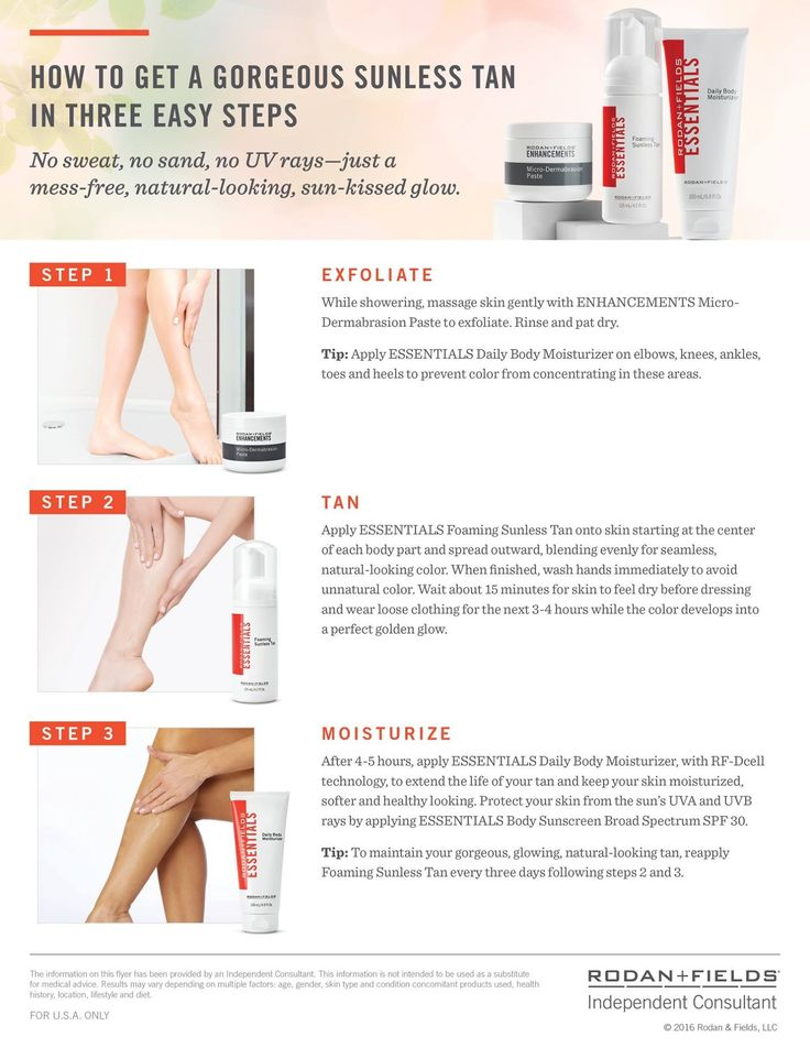 Hailed as one of the best tanning treatments on the market today by countless magazines and consumers- Rodan + Fields Foaming Sunless Tan is an awesome winter must have for only $26! Use with our Micro-Dermabrasion Paste & Body Lotion to perfect your tan. Message me to get 10% off + free shipping, or visit my online store. larmockRF@gmail.com, 989-278-9676. -Leah Armock, Rodan + Fields Consultant