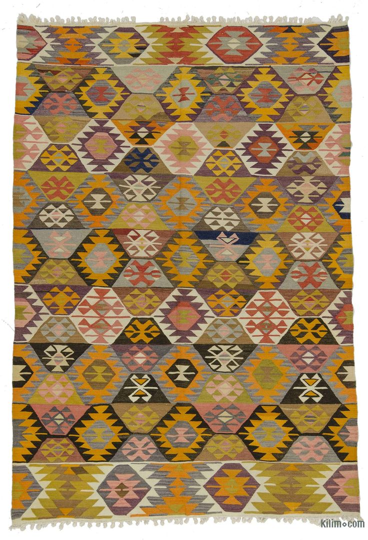 Vintage Turkish kilim rug handwoven in 1960's in Tavas, a town of Denizli in the Aegean region. This tribal kilim is in very good condition.