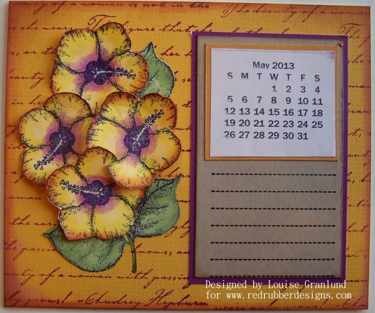 Calendar Sheet Rubber : Spring calendar page flowers and holly rubber stamp