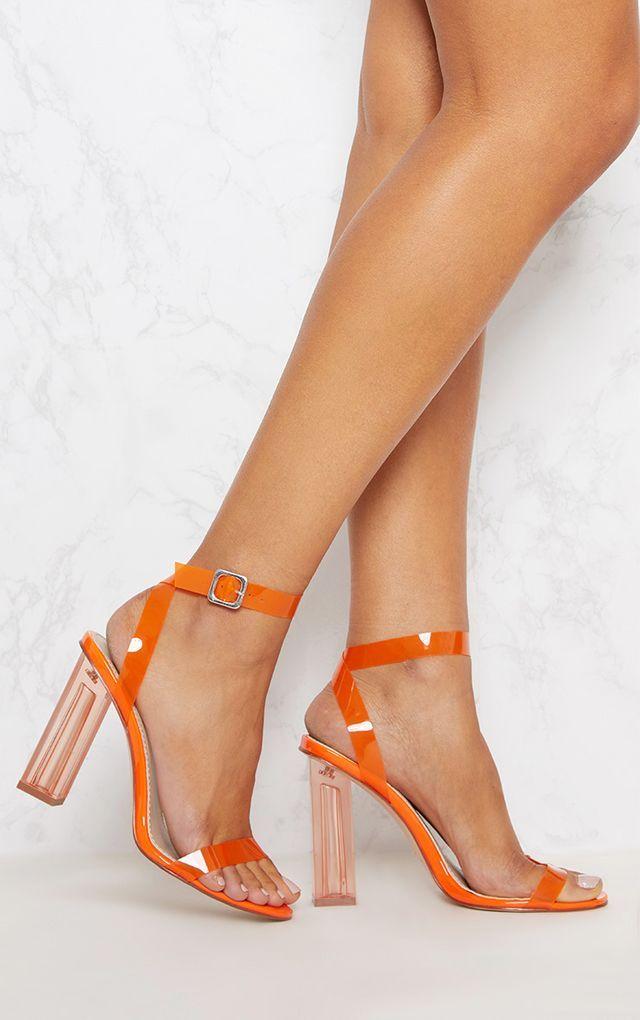 1e16e627dd8 Orange Coloured Clear Strappy Heel