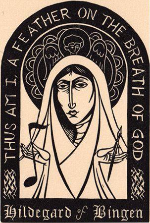 Hildegard of Bingen. Original art (linocut) from the book Light from Darkness…