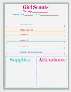 5 free girl scout meeting planner printables keep those meetings organized with activities and. Black Bedroom Furniture Sets. Home Design Ideas