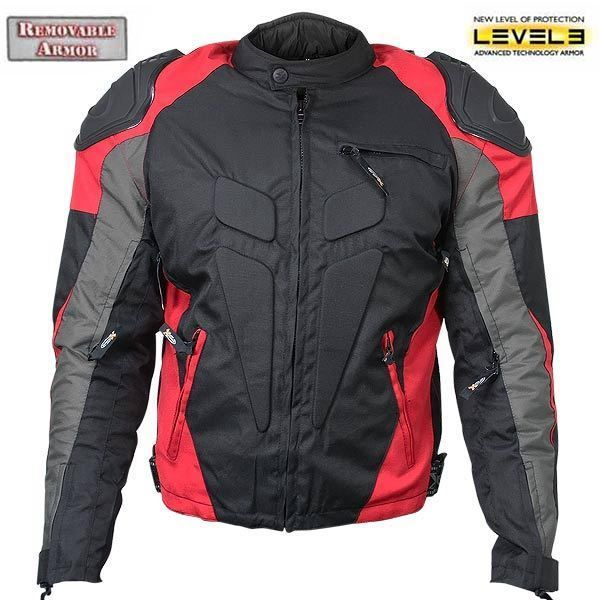 Xelement CF626 Tritex Waterproof Vented Level 3 Armored Motorcycle Jacket  Red #Xelement #Motorcycle
