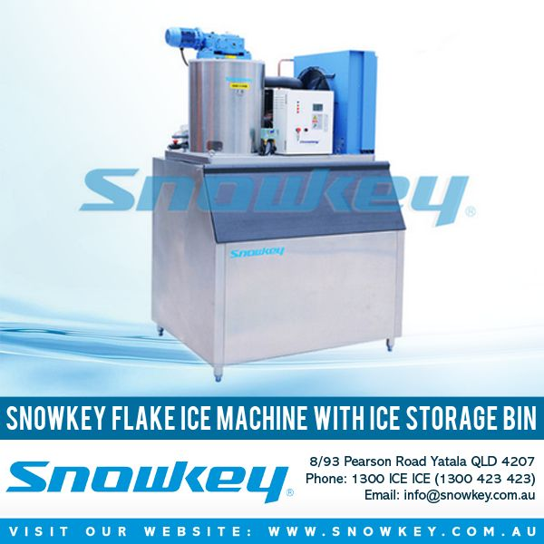 Snowkey Flake Ice Machine With Ice Storage Bin  - Interiors constructed from quality, non-corrosive materials to eliminate rust and contamination. - Stainless steel external cladding enables use in any environment. - Stationary vertical evaporator to prevent leaking seals. - Polyurethane insulation to restrict heat transfer and eliminate water penetration.  #ice #machine #tech