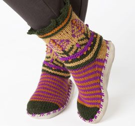 by Kristin Nicholas - Nordic Motif Slippers knitting pattern