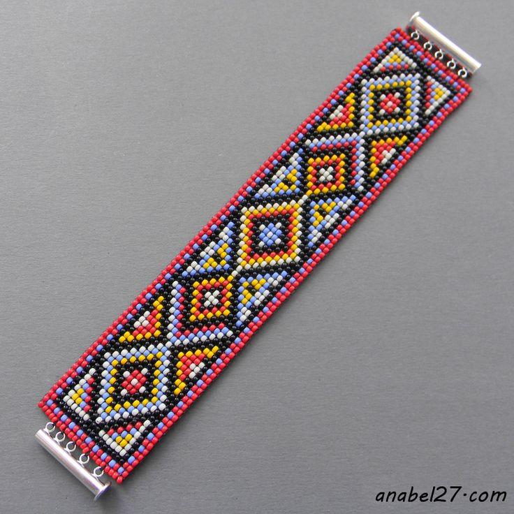 """Схема браслета """"Яркое этно"""" - ткачество / гобеленовое плетение"""