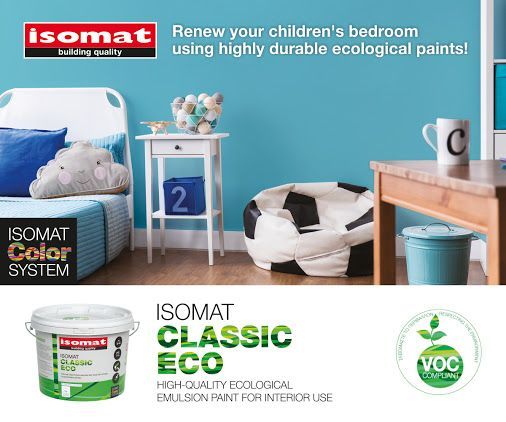 Renew your children's bedroom with the high-quality, ecological emulsion paint ISOMAT CLASSIC ECO! With respect for the environment, the applicator, but above all your children, ISOMAT CLASSIC ECO is the ideal choice to create spaces full of joy for our little friends! It is easily washable and ammonia-free, and offers excellent surface coverage with a matte finish. For more creative ideas, tips and trendy color combinations, visit the ISOMAT COLOR SYSTEM website…