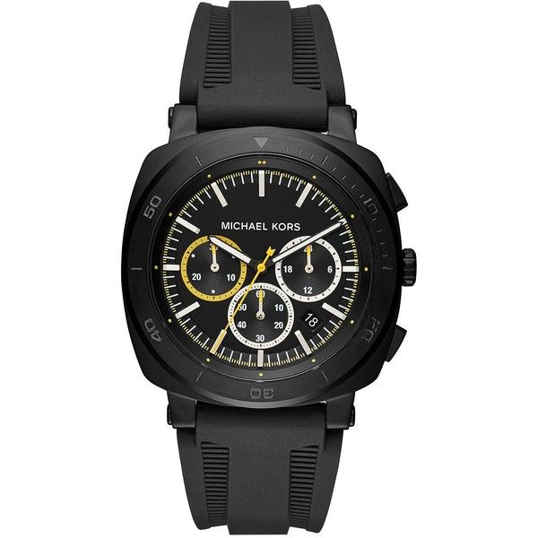 Michael Kors Bax Stainless Steel Chronograph Silicone Strap Watch (3,725 THB) ❤ liked on Polyvore featuring men's fashion, men's jewelry, men's watches, michael kors mens watches, mens chronograph watches, mens diamond bezel watches, mens water resistant watches and mens chronograph watch