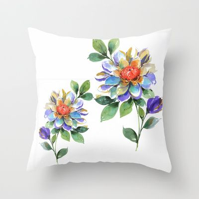 water color floral 1 Throw Pillow by Dalbir Design Services - $20.00