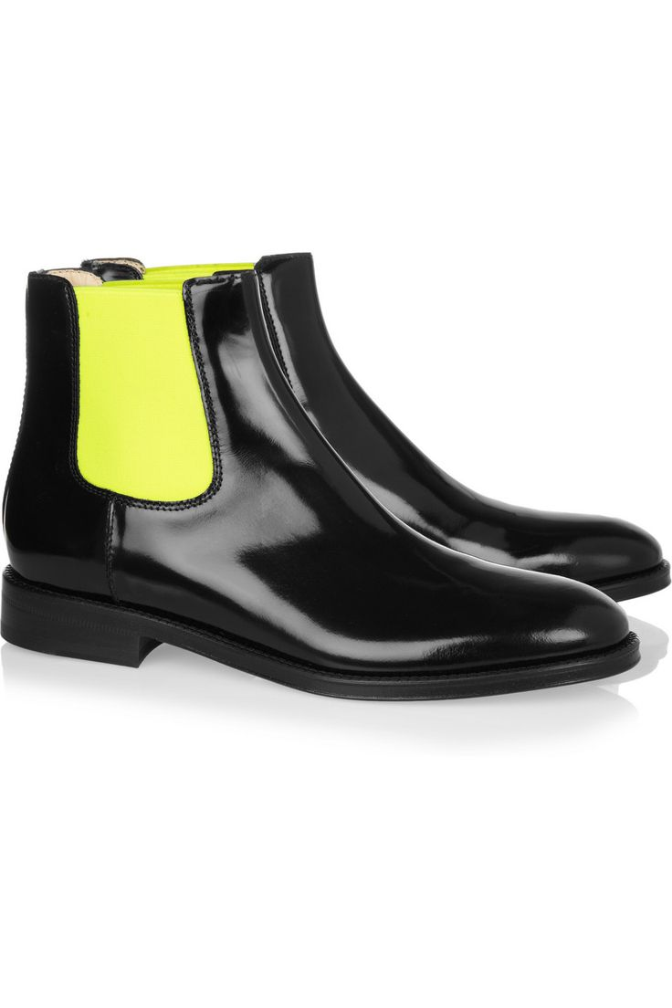 Christopher Kane|Fluoro polished leather Chelsea boots