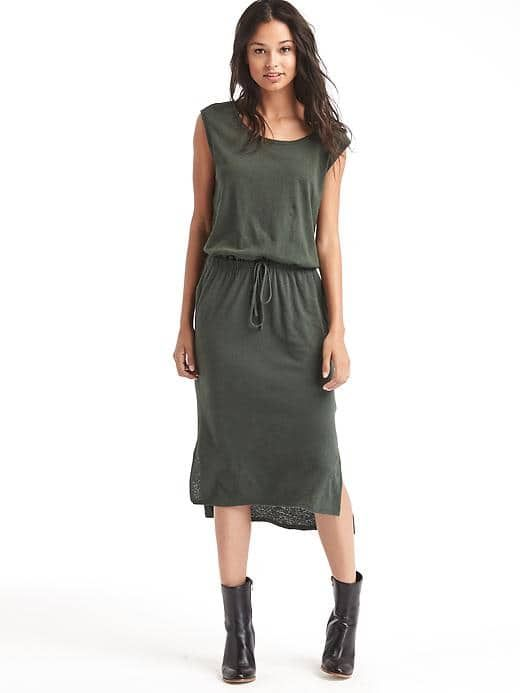 Linen-cotton hi-lo tank dress