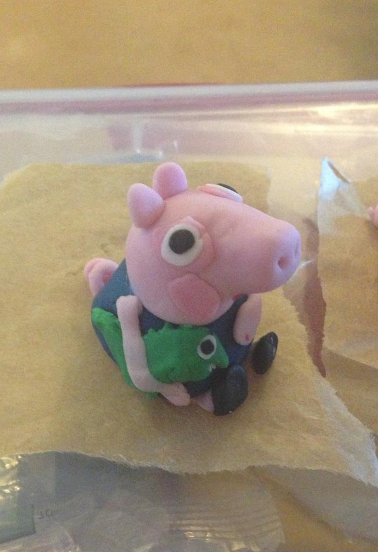 Sainsbury S Party Cake Decorations : George pig with Mr Dinosaur made using sugar paste ...