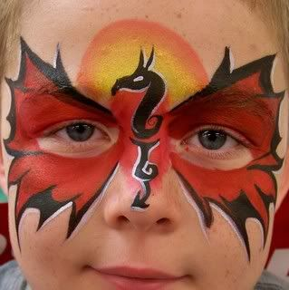 Great dragon mask face painting.