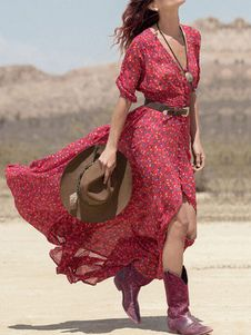 Red Maxi Dress Print Deep-V Cotton Blend Dress