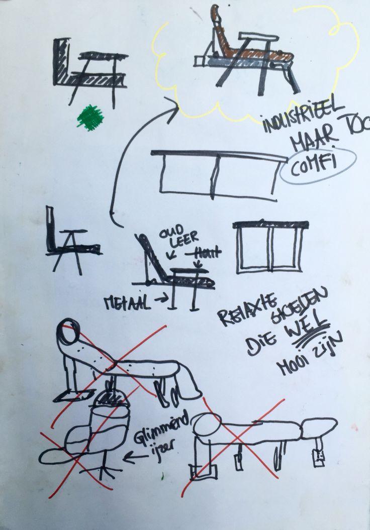 Meubilair • sketches - irritatie factor: zo'n extreem relaxte leren ligstoel is zo lelijk. Mijn idee was om deze te maken alleen dan mooi en meer in de stijl van nu. - Tessa Ichelle Bolt
