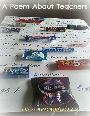 Candy Bar Poem For Teachers | Teacher Gift Candy poem