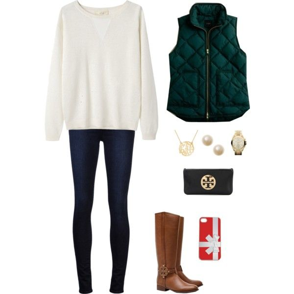A fashion look from December 2013 featuring Vanessa Bruno Athé sweaters, J.Crew vests and J Brand jeans. Browse and shop related looks.