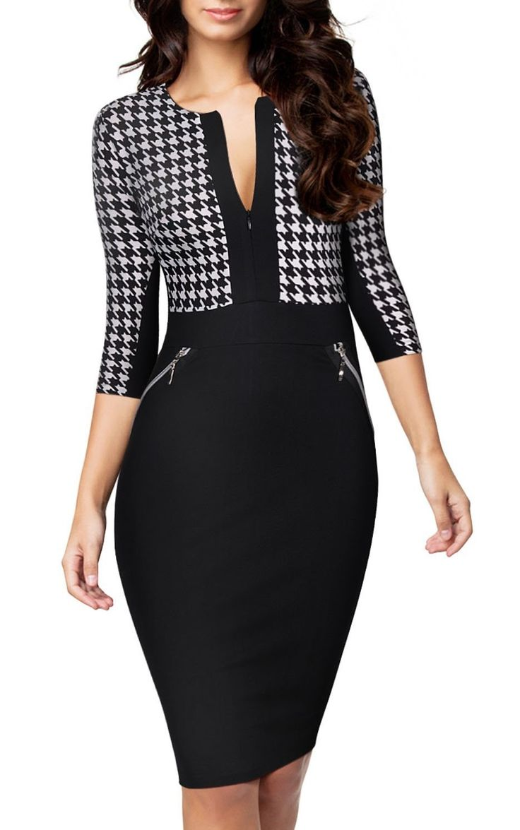 Formal Houndstooth-Print Optical Illusion 2/3 Sleeve Business Dress by Miusol