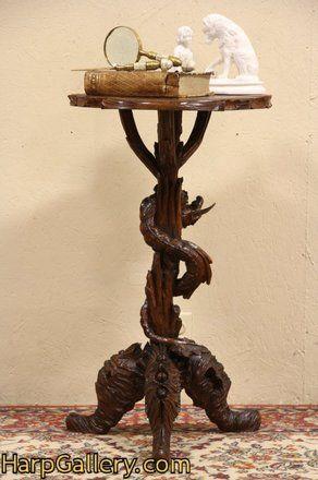 Venetian Dragon & Shell Nautical Carved 1890 Pedestal - Harp Gallery Antique Furniture