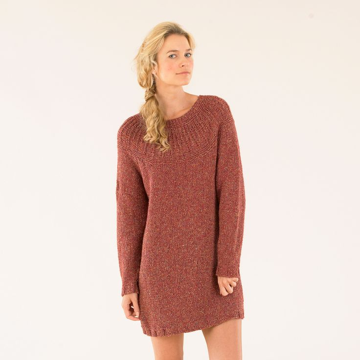 The Sublime campfire dress - hand knitted from the second Luxurious Aran Tweed book