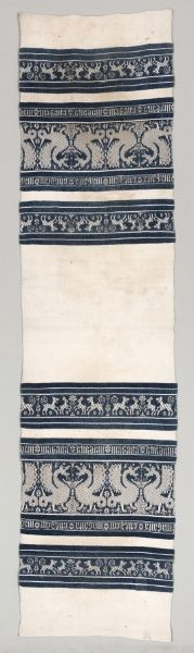 Woven Towel    Italy, Perugia  Date: 1400s (or later)      Medium: cotton; supplementary weft    Dimensions: Overall - h:220.90 w:54.00 cm (h:86 15/16 w:21 1/4 inches)