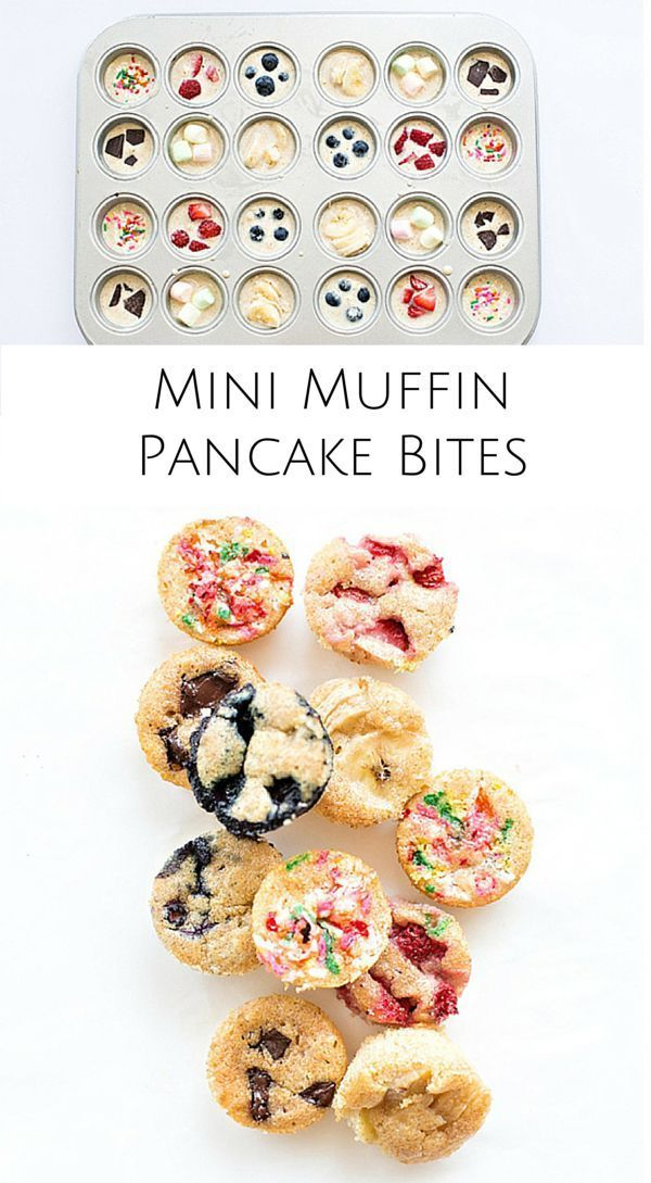 Mini muffin pancake bites. Easy to make, bite-sized pancakes for kids to customize with their favorite toppings.