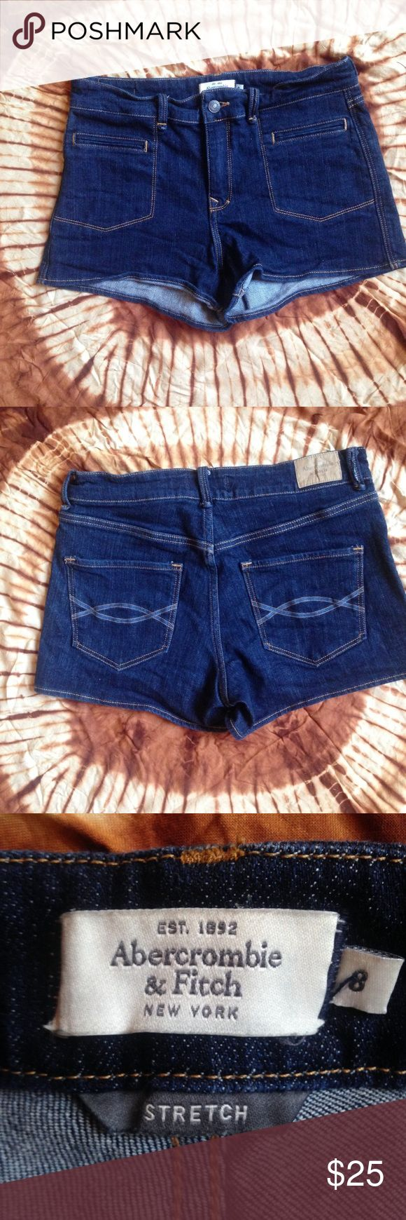 Abercrombie & Fitch Booty Jean Shorts, Dark Denim Adorable shorts from Abercrombie. Dark denim with brown stitching gives these a retro look. Size 8, Stretch. Abercrombie & Fitch Shorts Jean Shorts
