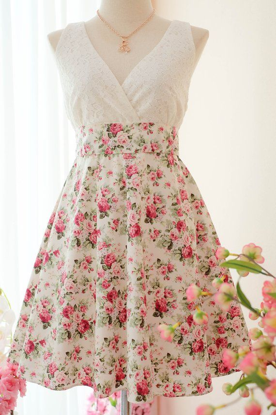 51bb76b624e White dress Bridesmaid dress pink Floral dress Vintage dress Country dress  Hippie dress Summer dress Sundress Tea dress in 2019