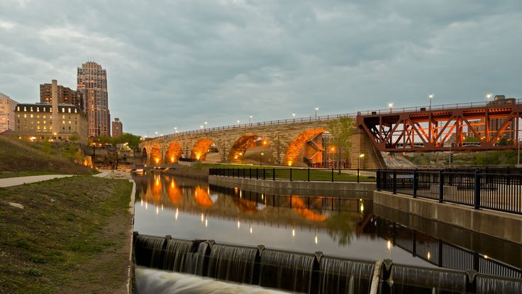 The Stone Arch Bridge is the only bridge of its kind over the Mississippi River. It is made of native granite and limestone, and measures 2100-feet long by 28-feet wide. It consists of 23 arches, and spans the river below St. Anthony Falls in Minneapolis, MN. Great place to walk, meet friends, ride a Segway, take a historic tour of the flour mill district, or enjoy one of many festivals celebrating the history, food, or the arts in beautiful Minneapolis.